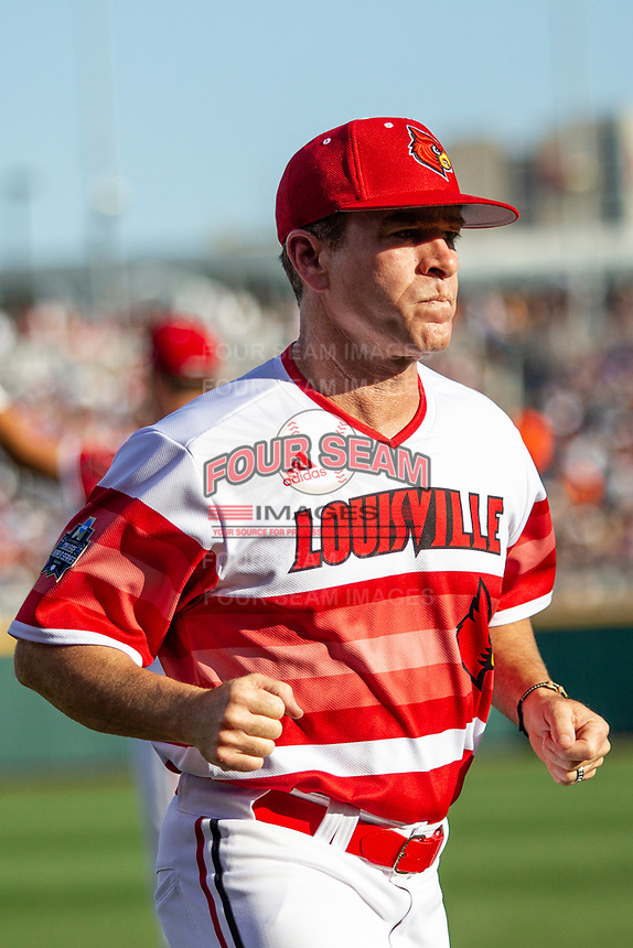 Louisville Cardinals head coach Dan McDonnell (3) before Game 10 of the NCAA College World Series against the Mississippi State Bulldogs on June 20, 2019 at TD Ameritrade Park in Omaha, Nebraska. Louisville defeated Mississippi State 4-3. (Andrew Woolley/Four Seam Images)