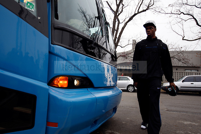 Terrence Jones walks to the bus before the UK men's basketball team  heads to the airport and on to Houston, TX for the Final Four on Wednesday, March 30, 2011.  Photo by Britney McIntosh | Staff