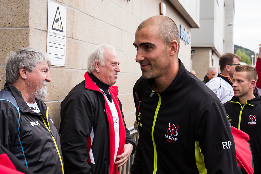 Ulster's Ruan Pienaar  arrives at the stadium<br /> <br /> Photographer Simon King/CameraSport<br /> <br /> Guinness Pro12 Round 21 - Ospreys v Ulster Rugby - Saturday 29th April 2017 - Liberty Stadium - Swansea<br /> <br /> World Copyright &copy; 2017 CameraSport. All rights reserved. 43 Linden Ave. Countesthorpe. Leicester. England. LE8 5PG - Tel: +44 (0) 116 277 4147 - admin@camerasport.com - www.camerasport.com