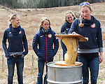 EAST MONTPELIER - USA Vermont Olympians speak at Morse Farm about the influence of climate change on winter sports they have experienced world wide and make suggestions on attacking the problem. Speaking, Hannah Dreissigacker,  L/R Ida Sargent, Liz Stephens,Susan Dunklee.