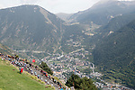 The peloton start to climb during Stage 20 of the La Vuelta 2018, running 97.3km from Andorra Escaldes-Engordany to Coll de la Gallina, Spain. 15th September 2018.                   <br /> Picture: Unipublic/Photogomezsport | Cyclefile<br /> <br /> <br /> All photos usage must carry mandatory copyright credit (© Cyclefile | Unipublic/Photogomezsport)