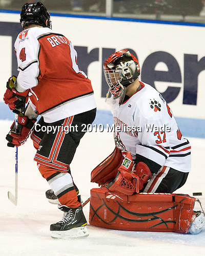 Bryan Brutlag (RPI - 4), Chris Rawlings (Northeastern - 37) - The visiting Rensselaer Polytechnic Institute Engineers tied their host, the Northeastern University Huskies, 2-2 (OT) on Friday, October 15, 2010, at Matthews Arena in Boston, MA.