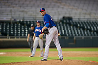 AZL Rangers relief pitcher Derek Heffel (43) checks the runner at first base during a game against the AZL Giants on September 4, 2017 at Scottsdale Stadium in Scottsdale, Arizona. AZL Giants defeated the AZL Rangers 6-5 to advance to the Arizona League Championship Series. (Zachary Lucy/Four Seam Images)
