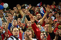 Serbia fans celebrate winning the FIFA Under-20 Football World Cup Final between Brazil (gold) and Serbia at North Harbour Stadium, Albany, New Zealand on Saturday, 20 June 2015. Photo: Dave Lintott / lintottphoto.co.nz