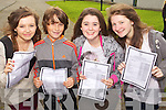 Four students that got ten A's in their Junior Cert, pictured at Mercy Mounthawk Secondary, Tralee on Wednesday, from left: Aoife O'Connell (Ardfert), Murrough Connolly (Ballyard), Emma McCarthy (Tralee) and Grace Egan (Ardfert)..