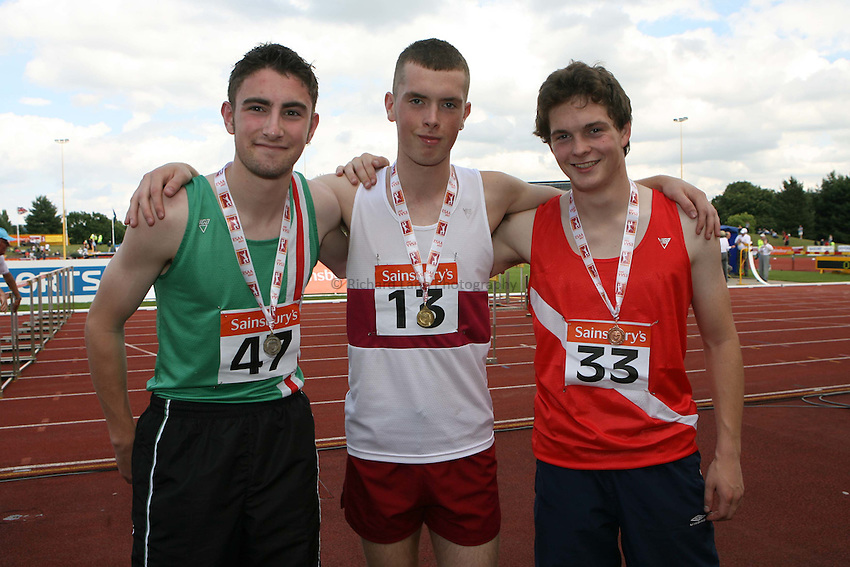Photo: Rich Eaton/Sportsbeat Images.....Sainsbury's English Schools Track and Field Championships, Birmingham. 14/07/2007. Senior boys 100m winners l-r silver Christopher Craig of Lincs, gold Richard Kilty of Cleveland and bronze Gareth Price of Hampshire.