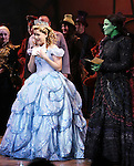 Alli Mauzey and Lindsay Mendez  during the 10th Anniversary on Broadway Curtain Call for 'Wicked'  at the Gershwin Theatre on October 30, 2013  in New York City.