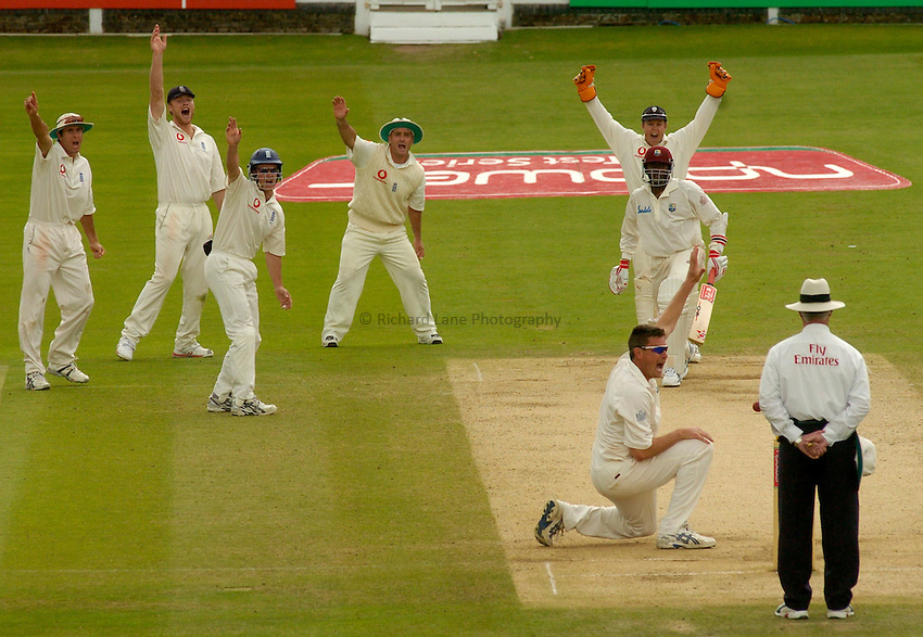 Photo. Glyn Thomas. .England v West Indies. First Test, nPower Test Series..Day 5. 26/07/2004..Ashley Giles and his posse of close fielders appeal for the wicket of Pedro Collins.