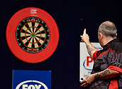 "11th January 2018, Brisbane Royal International Convention Centre, Brisbane, Australia; Pro Darts Showdown Series; Phil ""The Power"" Taylor (GBR) in action against Rhys Mathewson (AUS)"