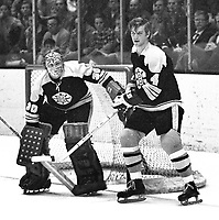 Boston Bruins goalie Gerry Cheevers and #4 Bobby Orr..(1971 photo/Ron Riesterer)