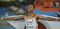 CALI - COLOMBIA - 15-07-2015:  Abdul Hackim Sani Brown, de Japon, Medalla de oro en la prueba de los 100 Metros Boys, en el estadio Pascual Guerrero sede, sede del IX campeonato Mundial de Atetismo Juvenil 2015.  / Abdul Hackim Sani Brown, of Japan gold medal in the test of the 100 Meters Boys, in the Pascual Guerrero home of the IX World Youyh Campionshps -2015. Photos: VizzorImage / Luis Ramirez / Staff.