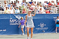 April 11, 2010:  MPS Group Championships.   Caroline Wozniacki (DEN) show her displeasure about a call during finals singles action at the MPS Group Championships played at the Sawgrass Country Club in Ponte Vedra, Florida.  Caroline Wozniacki (DEN) defeated Olga Govortsova (BLR) 6-2, 7-5 to win the tournament for the second consecutive year..