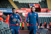 (L-R ) Neil Taylor of Swansea and Gylfi Sigurosson of Swansea arrive at the Liberty Stadium prior to the Barclays Premier League match between Swansea City and West Ham United played at the Liberty Stadium, Swansea  on December 20th 2015