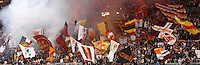 Calcio, Serie A: Roma vs Chievo Verona. Roma, stadio Olimpico, 7 maggio 2013..AS Roma fans wave fags prior to the start of the Italian Serie A football match between AS Roma and ChievoVerona at Rome's Olympic stadium, 7 May 2013..UPDATE IMAGES PRESS/Riccardo De Luca