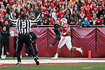 Wisconsin Badgers running back Jonathan Taylor (23) scores a touchdown during an NCAA College Football Big Ten Conference game against the Purdue Boilermakers Saturday, October 14, 2017, in Madison, Wis. The Badgers won 17-9. (Photo by David Stluka)