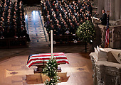 December 5, 2018 - Washington, DC, United States: Former President George W. Bush provides a eulogy at the state funeral service of his father, former President George W. Bush at the National Cathedral. <br /> Credit: Chris Kleponis / Pool via CNP