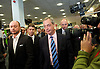 UKIP National Party Conference <br /> Day 2<br /> at Doncaster Race Course, Doncaster, Great Britain <br /> 27th September 2014 <br /> <br /> Nigel Farage <br /> walking through the exhibition area at the Conference <br /> <br /> <br /> Photograph by Elliott Franks <br /> Image licensed to Elliott Franks Photography Services