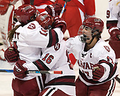 Kate Hallett (Harvard - 14), Lexie Laing (Harvard - 16), Briana Mastel (Harvard - 17) - The Harvard University Crimson tied the Boston University Terriers 6-6 on Monday, February 7, 2017, in the Beanpot consolation game at Matthews Arena in Boston, Massachusetts.