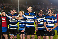 Matt Banahan of Bath Rugby speaks to his team-mates in a post-match huddle. Anglo-Welsh Cup match, between Bath Rugby and Leicester Tigers on November 10, 2017 at the Recreation Ground in Bath, England. Photo by: Patrick Khachfe / Onside Images