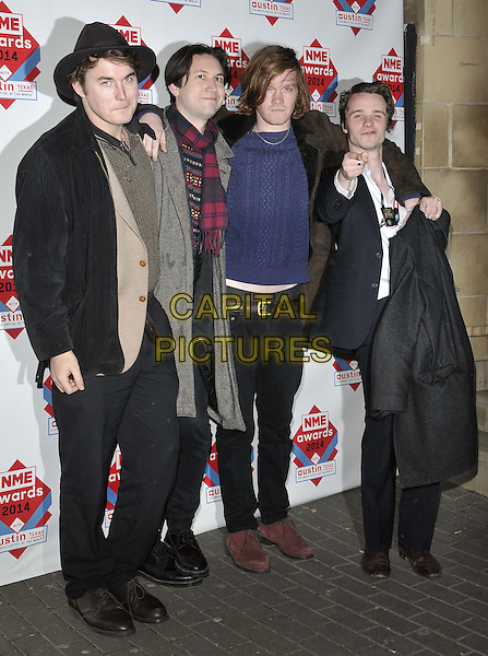 LONDON, ENGLAND - FEBRUARY 26: Palma Violets ( Alexander 'Chilli' Jesson, Samuel Thomas Fryer, Jeffrey Peter Mayhew &amp; William Martin Doyle )  attend the NME Awards 2014, O2 Academy Brixton, February 26, 2014 in London, England, UK.<br /> CAP/CAN<br /> &copy;Can Nguyen/Capital Pictures