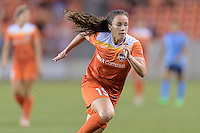 Houston, TX - Friday April 29, 2016: Allysha Chapman (15) of the Houston Dash races after a loose ball against Sky Blue FC at BBVA Compass Stadium. The Houston Dash tied Sky Blue FC 0-0.