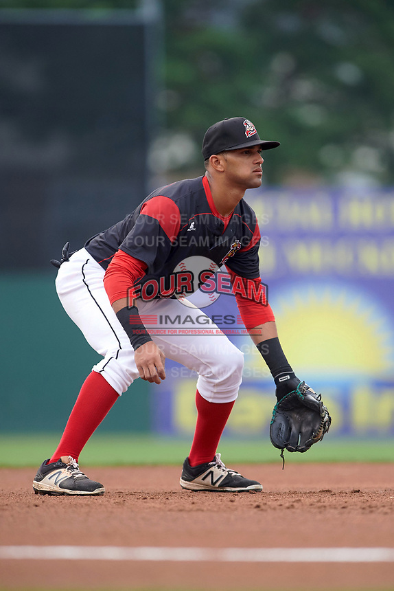 Batavia Muckdogs third baseman J.C. Millan (4) during a game against the Lowell Spinners on July 12, 2017 at Dwyer Stadium in Batavia, New York.  Batavia defeated Lowell 7-2.  (Mike Janes/Four Seam Images)