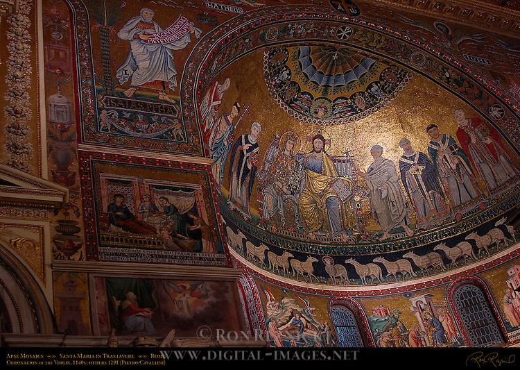 Apse Mosaics vault Coronation of the Virgin 1140-48 other mosaics Pietro Cavallini 1291 Santa Maria in Trastavere Trastevere Rome
