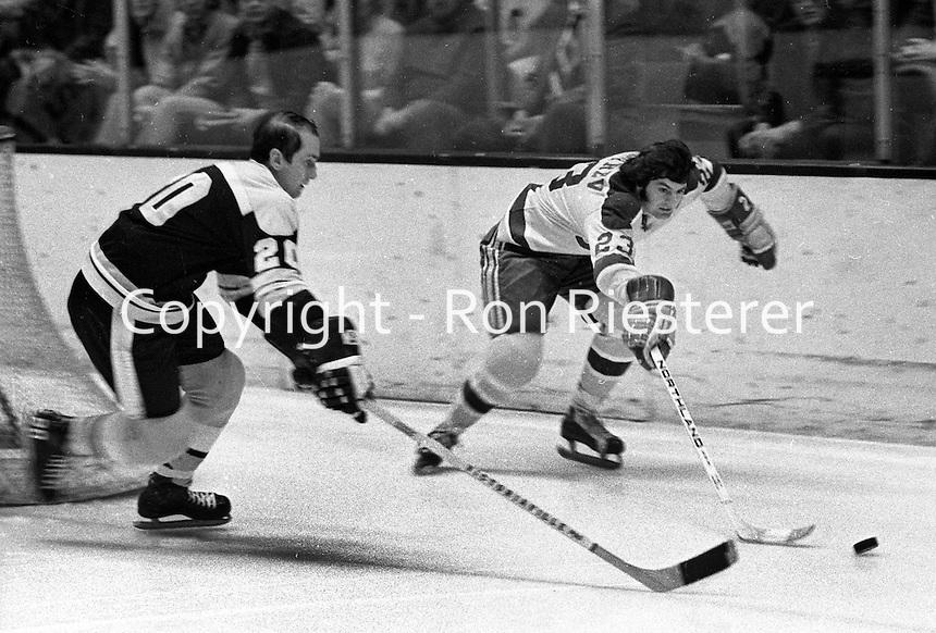 Seals Ivan Boldirev and Boston Bruin #20 Dallas Smith.<br /> (photo/Ron Riesterer)