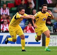 Morecambe's Aaron Wildig, right, celebrates scoring the opening goal with team-mate Alex Kenyon<br /> <br /> Photographer Chris Vaughan/CameraSport<br /> <br /> The EFL Sky Bet League Two - Lincoln City v Morecambe - Saturday August 12th 2017 - Sincil Bank - Lincoln<br /> <br /> World Copyright &copy; 2017 CameraSport. All rights reserved. 43 Linden Ave. Countesthorpe. Leicester. England. LE8 5PG - Tel: +44 (0) 116 277 4147 - admin@camerasport.com - www.camerasport.com
