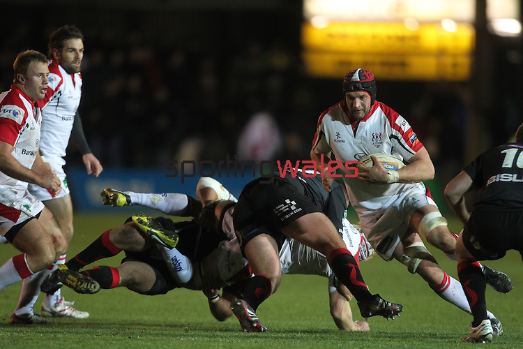 Ulster lock Dan Tuohy finds a gap in the Dragons defence..Celtic League.Newport Gwent Dragons v Ulster.Rodney Parade.26.10.12.©Steve Pope