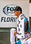 1 March 2019: Miami Marlins Manager Don Mattingly looks out from the dugout during a Spring Training game against the Washington Nationals at Roger Dean Stadium in Jupiter, Florida. The Nationals defeated the Marlins 5-4 in Grapefruit League play. Mandatory Credit: Ed Wolfstein Photo *** RAW (NEF) Image File Available ***
