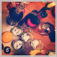 The implements for cocktails are ready to be mixed at the Llewellyn's house in Havertown on December 31, 2012.