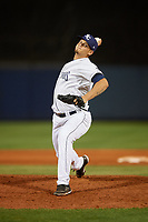 Charlotte Stone Crabs relief pitcher Adrian Navas (15) delivers a pitch during a game against the Palm Beach Cardinals on April 20, 2018 at Charlotte Sports Park in Port Charlotte, Florida.  Charlotte defeated Palm Beach 4-3.  (Mike Janes/Four Seam Images)