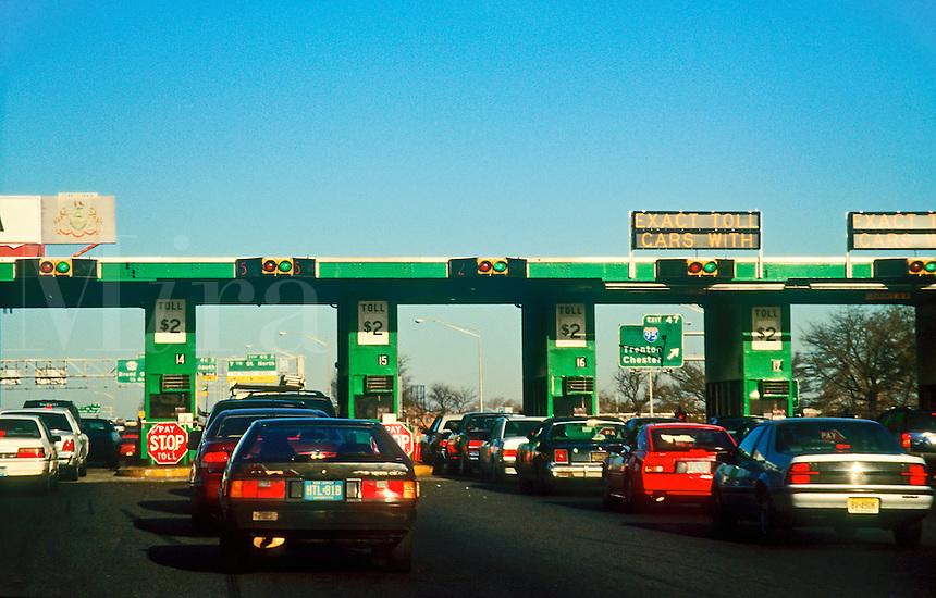 Urban traffic at toll booth, NJ, Philadelphia, PA