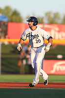 Zach Nehrir (20) of the Hillsboro Hops leads off of second base during a game against the Salem-Keizer Volcanoes at Ron Tonkin Field on July 27, 2015 in Hillsboro, Oregon. Hillsboro defeated Salem-Keizer, 9-2. (Larry Goren/Four Seam Images)
