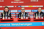 03.11.2018, BayArena, Leverkusen, GER, 1. FBL,  Bayer 04 Leverkusen vs. TSV 1899 Hoffenheim,<br />  <br /> DFL regulations prohibit any use of photographs as image sequences and/or quasi-video<br /> <br /> im Bild / picture shows: <br /> Pressekonferenz (PK) nach dem Spiel,  v.l. Julian Nagelsmann Cheftrainer (Hoffenheim), Dirk Mesch Pressesprecher (Bayer 04 Leverkusen),  Heiko Herrlich Trainer (Bayer Leverkusen),<br /> Foto &copy; nordphoto / Meuter