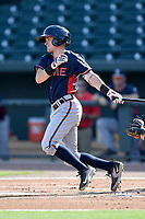 Shortstop Marcus Mooney (2) of the Rome Braves bats in game one of a doubleheader against the Columbia Fireflies on Saturday, August 19, 2017, at Spirit Communications Park in Columbia, South Carolina. Rome won, 8-2. (Tom Priddy/Four Seam Images)