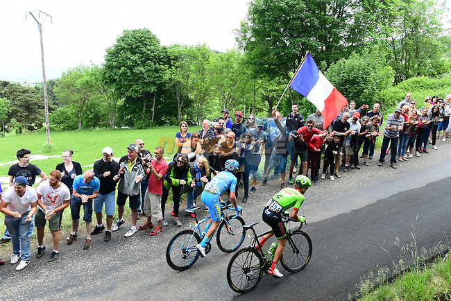 The breakaway group Romain Combaud (FRA) Delko Marseille Provence KTM and Nathan Brown (USA) Cannondale-Drapac 35&quot; ahead during Stage 2 of the Criterium du Dauphine 2017, running 171km from Saint-Chamond to Arlanc, France. 5th June 2017. <br /> Picture: ASO/A.Broadway | Cyclefile<br /> <br /> <br /> All photos usage must carry mandatory copyright credit (&copy; Cyclefile | ASO/A.Broadway)