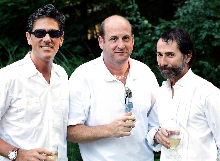 Washington, CT- 31, July 2010-073010CM14  SOCIAL MOMENT L-R Jim Fontaine, (NY,NY), Phil Manno (Washington) and Tony Trotta (Morris) at The Thirteenth annual Tea for Two Hundred garden party in Washington.  Hosted by Gael Hammer, the event's proceeds will benefit the Washington Art Association and the Interfaith AIDS Ministry of Greater Danbury.   --Christopher Massa Republican-American