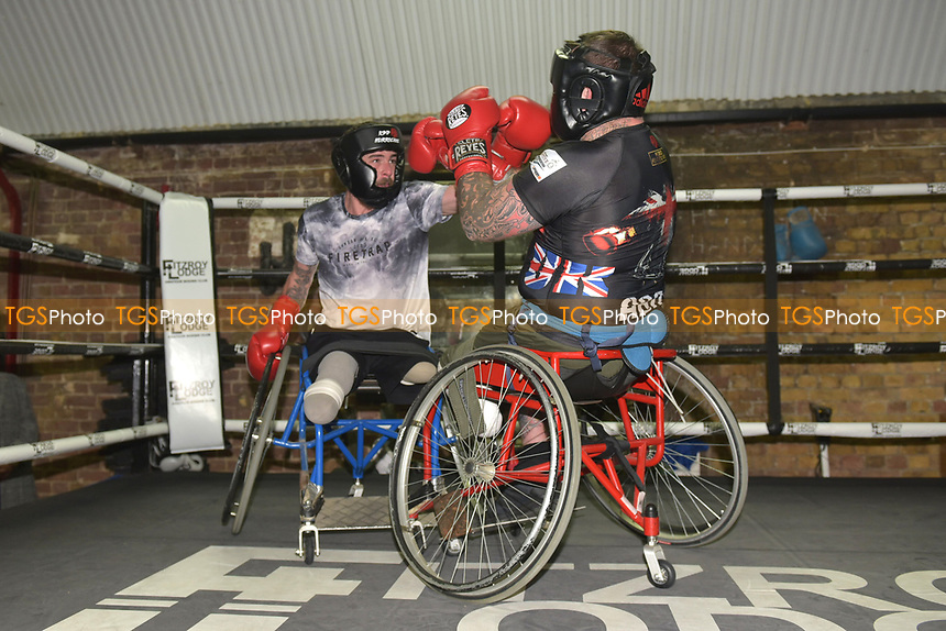 Wheelchair boxers in the ring during a Media Event at Fitzroy Lodge Gym on 8th October 2018