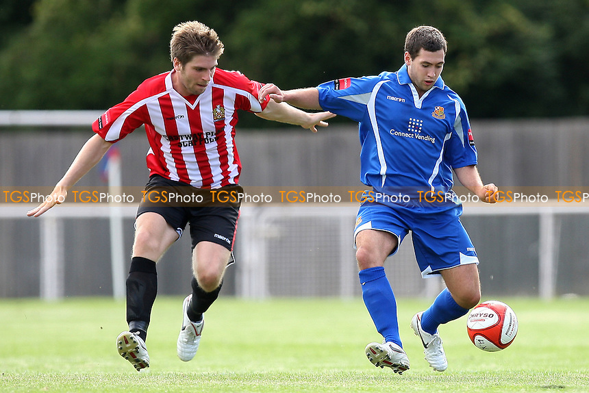Chris O'Leary of Wealdstone holds off Ronnie Fletcher of Hornchurch - AFC Hornchurch vs Wealdstone - Ryman League Premier Division Footbal at The Stadium - 30/08/10 - MANDATORY CREDIT: Gavin Ellis/TGSPHOTO - SELF-BILLING APPLIES WHERE APPROPRIATE. NO UNPAID USE. TEL: 0845 094 6026
