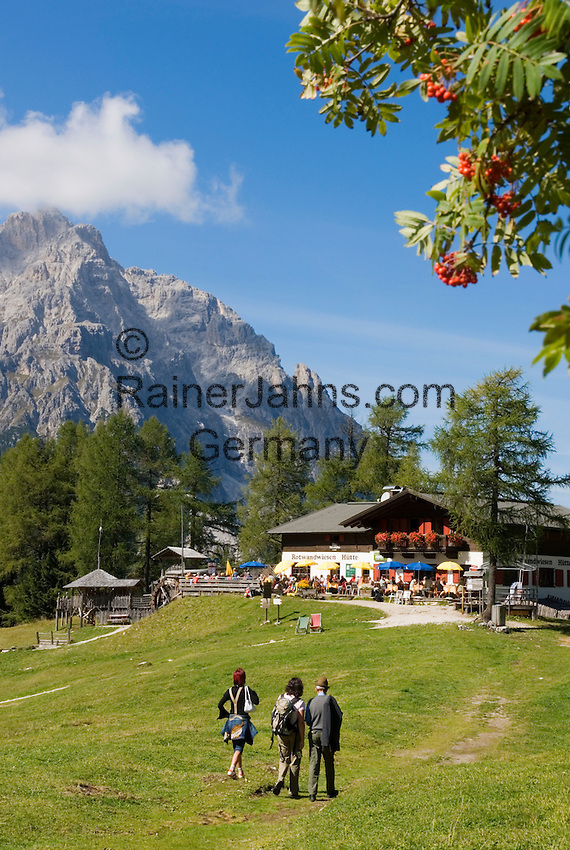 Italy, South Tyrol, Alto Adige, Dolomites, Moso: hiking region Prati di Croda Rossa with Prati di Croda Rossa Mountain Inn and Punta Tre Scarperi mountain