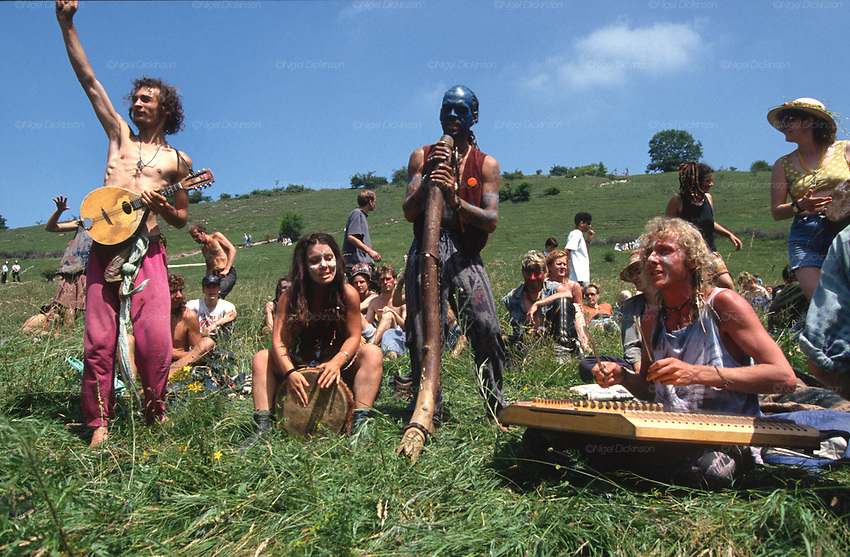 Space Goats playing at Twyford Down. Road Protest actions at Twyford Down, near the Donga pathways, outside Winchester, against the M3 road extension. 1992-94<br />
