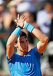 Tenis, Roland Garros 2011.Rafael Nadal (ESP) Vs. Robert Soderling (SWE).Rafael Nadal, celebrate the victory.Paris, 01.06.2011..foto: Srdjan Stevanovic/Starsportphoto ©