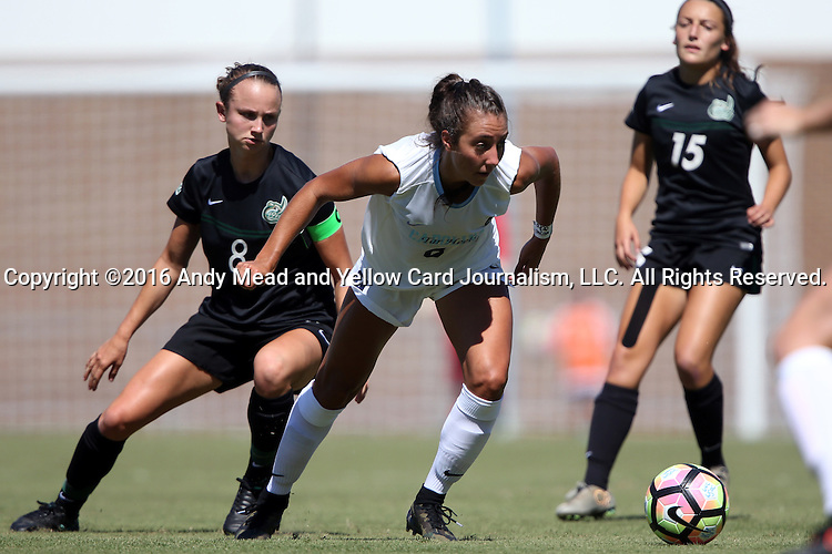 21 August 2016: North Carolina's Abby Elinsky (center) and Charlotte's Martha Thomas (left). The University of North Carolina Tar Heels hosted the University of North Carolina Charlotte 49ers in a 2016 NCAA Division I Women's Soccer match. UNC won the game 3-0