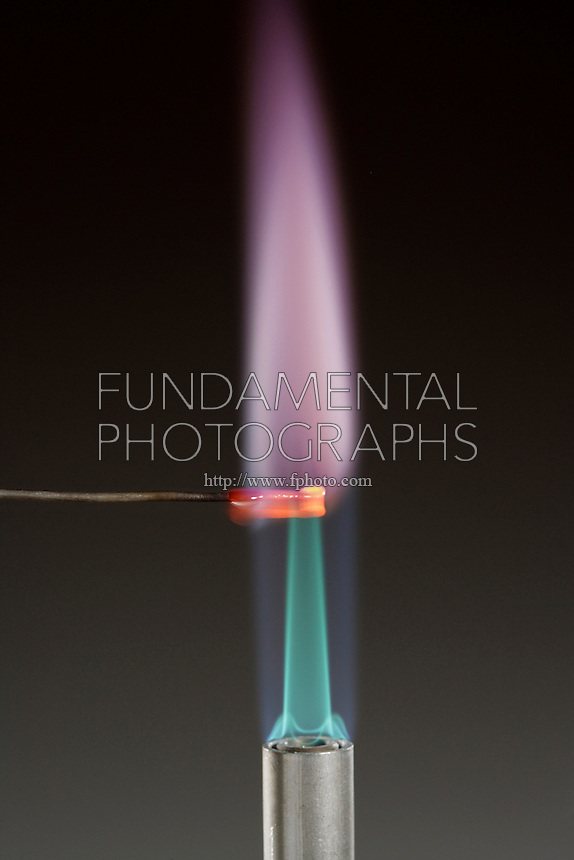 POTASSIUM FLAME TEST (KCl)<br /> Lilac Flame Shows Presence Of Lithium(Alkali metal) Potassium compound is dissociated by flame into gaseous atoms, not ions. The atoms of the element are raised to excited state by high temperature of flame. Excess energy from the atom is emitted as light of a characteristic wavelength.