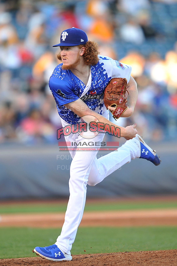 Tulsa Drillers starting pitcher Dustin May (12) throws a pitch against the Corpus Christi Hooks at Oneok Stadium on May 4, 2019 in Tulsa, Oklahoma.  The Hooks won 9-7.  (Dennis Hubbard/Four Seam Images)