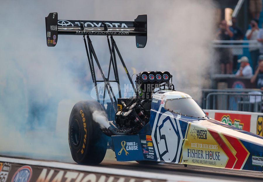 May 31, 2019; Joliet, IL, USA; NHRA top fuel driver Antron Brown during qualifying for the Route 66 Nationals at Route 66 Raceway. Mandatory Credit: Mark J. Rebilas-USA TODAY Sports