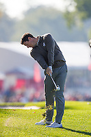 Rory McIlroy (Team Europe) on the 9th during the Saturday morning Foursomes at the Ryder Cup, Hazeltine national Golf Club, Chaska, Minnesota, USA.  01/10/2016<br /> Picture: Golffile | Fran Caffrey<br /> <br /> <br /> All photo usage must carry mandatory copyright credit (&copy; Golffile | Fran Caffrey)
