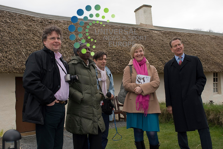 Michael Portillo and fellow Art Fund judges visit The Robert Burns Birthplace Museum in Alloway. The museum is in the running for a £100,000 prize which will be announced in London in June. The judges outside Burns' house. Lars Tharp, Baroness Lola Young, Jeremy Deller, Charlotte Higgins and Michael Portillo.Picture: Thomas Smillie/Universal News And Sport (Europe) All pictures must be credited to www.unpixs.com. (0ffice) 0844 884 51 22.21 March 2011..